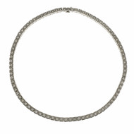 Diamond Hinged Box Link Necklace 14k White Gold