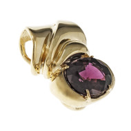 Estate Bright Red Garnet Slide Pendant 14k Yellow Gold