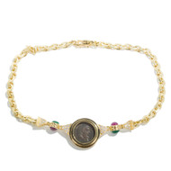 Estate Ancient Roman Coin 18K Yellow Gold Necklace Emerald Ruby Diamonds