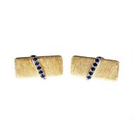 Vintage 1940 Textured Rectangular Sapphire Cuff Links 14k Yellow Gold