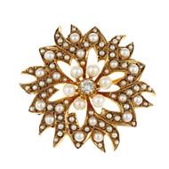 Vintage 1940 Sunburst Design Pin Pendant 14k Rose Gold Cultured Pearl Diamond