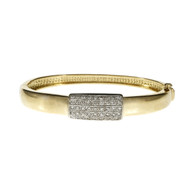 Estate 1960 Hinged Diamond Bangle Bracelet 14k Yellow White Gold
