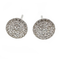Round Diamond Cluster stud Earrings 14k White Gold