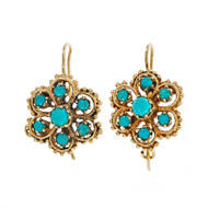 Natural Turquoise Vintage Cluster Earrings 14k Yellow Gold