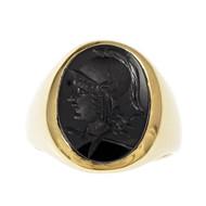 Larter & Sons Carved Onyx Men's Ring 14k Yellow Gold
