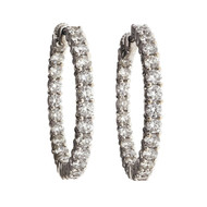 Estate 4.00ct Inside Outside Diamond Hoop Earrings 18k White Gold