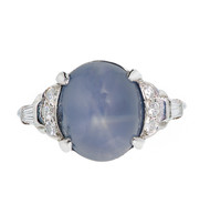 Art Deco Lambert Brothers Star Sapphire Ring Platinum Diamond