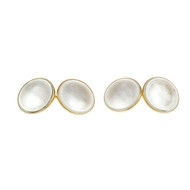 Estate 1940 Round White Mother Of Pearl Cuff Links 14k Yellow Gold