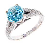 1.80ct Round Natural Aqua 14k White Gold Diamond Ring