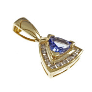 Estate Triangle Tanzanite Diamond Pendant 14k Yellow Gold
