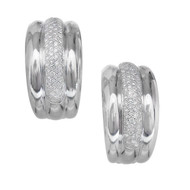 Estate Hoop Diamond Pavé Earrings Clip Post 14k White Gold