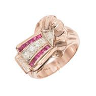 Vintage 1935 Ruby Diamond Ring Arrow Design 14k Rose Gold