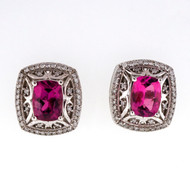 Cushion Pink Tourmaline 2.40ct 14k White Gold Diamond Earrings
