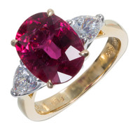 Richard Krementz Rubellite Pink Tourmaline Ring 18k Gold Diamond Platinum
