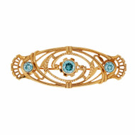 1930 Pink Gold Blue Zircon Pin Open Work