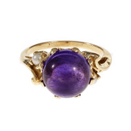 Vintage 1950 Cabochon Amethyst Pearl Ring 14k Yellow Gold