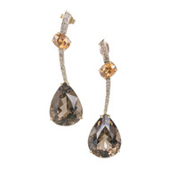 Estate Smoky Quartz Citrine Dangle Earrings Chocolate Brown Diamond 14k Gold
