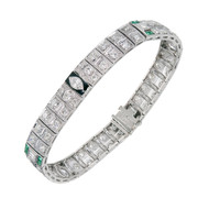 Vintage Art Deco Bracelet Emerald Diamond Black Enamel Platinum