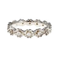 Diamond Flower Eternity Band Ring 18k White Gold