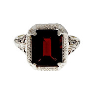 Estate 1930 Art Deco Emerald Cut Garnet Ring 14k White Gold Filigree