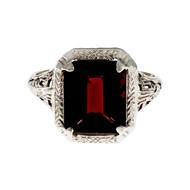 Estate 1930 Art Deco Emerald Cut Garnet Ring 14k White Gold Filigree