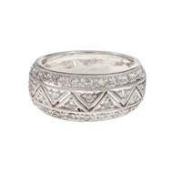 Antique Style Pavé Set Diamond Band Ring Platinum