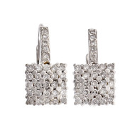 Estate Square Diamond Earrings 14k White Gold