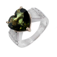 Green Sapphire Heart Shape Engagement Ring Platinum 18k Diamond