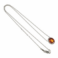 Bright Orange Spessartite Garnet Pendant Diamond Halo