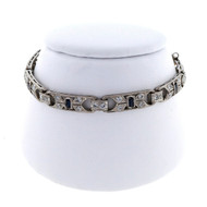 Art Deco .50ct Sapphire Calibre Swiss Cut Sapphire Diamond Platinum Bracelet