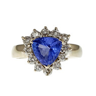 Estate Trilliant Tanzanite Diamond Halo Ring 14k White Gold