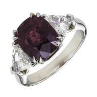 Peter Suchy Antique Cushion Pink Purple Sapphire Ring Platinum Triangle Diamond