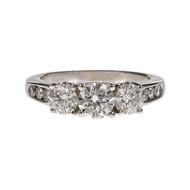 Diamond Engagement 3 Stone Ring Past Present Future 14k White Gold