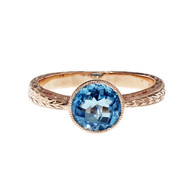 Bright Blue Topaz Ring 14k Pink Gold Round