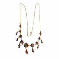 Antique Early 1900's Rose Cut Garnet Necklace In 14k Yellow Gold