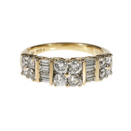 Diamond Band Ring Round Full Cut & Baguette Diamonds 14k Yellow Gold