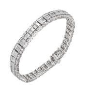 Estate Round Baguette Diamond Bracelet 14k White Gold