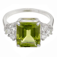 Emerald Cut Peridot Ring 14k White Gold Diamond