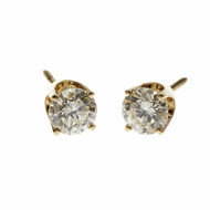 Estate Diamond Stud Earrings 1.00ct Total 14k Yellow Gold