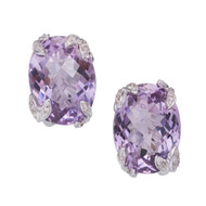 Bright Medium Purple Oval Amethyst Diamond Earrings 14k White Gold