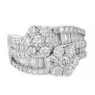 Estate Bypass Diamond Cluster Ring Round Baguette 18k White Gold