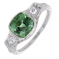 Vintage 1930 Natural 2.42ct Cushion Alexandrite Engagement Ring Diamond Filigree