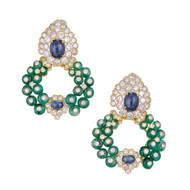 Giovane Emerald Sapphire Diamond Gold Day Night Ear Clips Earrings