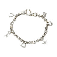 Roberto Coin Diamond Charm Bracelet 18k White Gold
