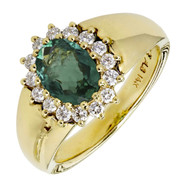 Alfred Butler Emerald Diamond Cluster Ring 14k Yellow Gold