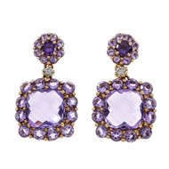 Amethyst Dangle Earrings Pink Gold 18k Diamond