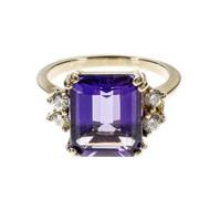 Estate Bright Purple Amethyst Ring Emerald Cut Diamond 14k Yellow Gold
