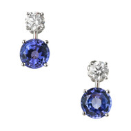 Peter Suchy Gem Blue Tanzanite Diamond Dangle Earrings Platinum