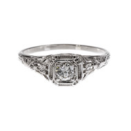 Art Deco 1930 Open Work Diamond Engagement Ring 18k White Gold