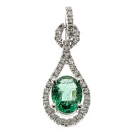 Bright Green Emerald Pendant Diamond 14k White Gold